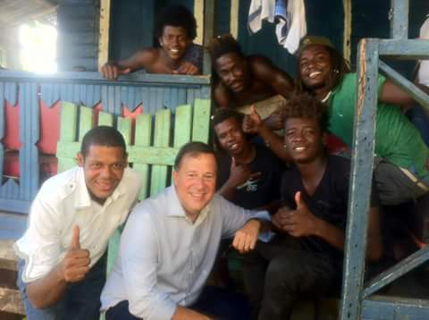 President Varela and Representative Asburn with local Basti boys